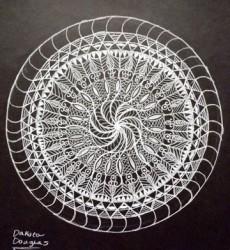 Spring Mandella. White pencil drawing on black paper.