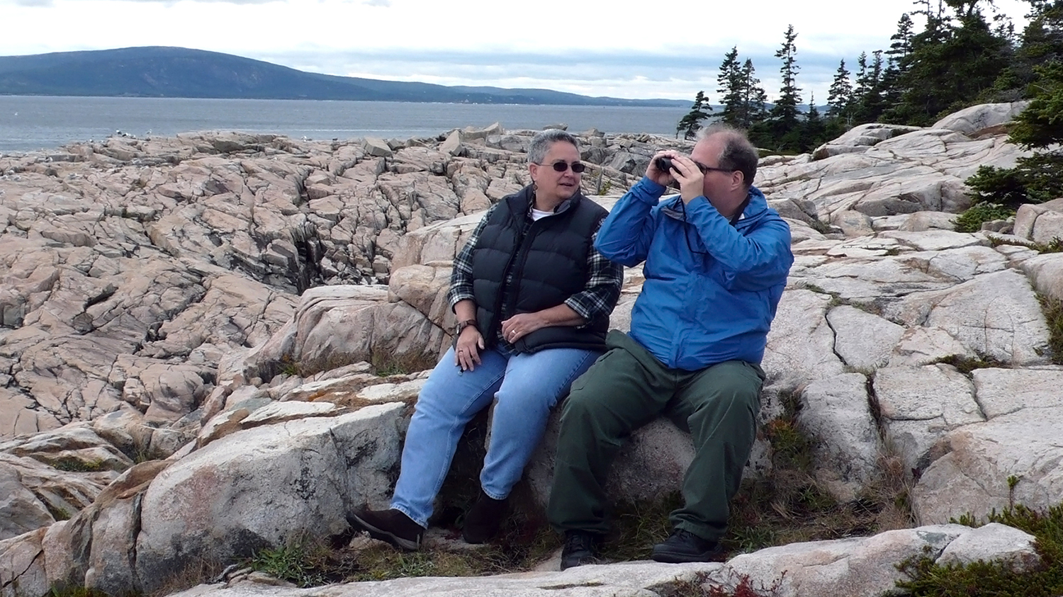 Sister and her brother with developmental disabilities visiting Acadia National Park in Maine.
