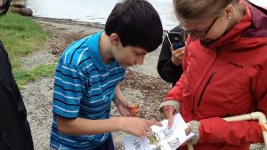 Two students working on the Green Crab project.