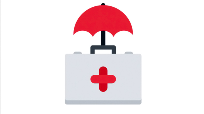 Depiction of healthcare covered by an umbrella.