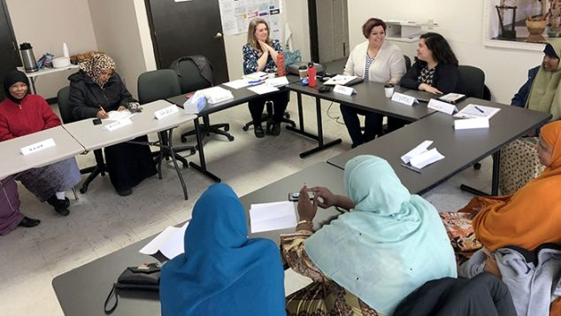 Somali parents with Marnie Morneault, April Fournier and Crystal Cron.
