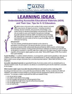 Learning Ideas: Understanding Accessible Educational Materials and Their Use: Tips for K-12 Educators