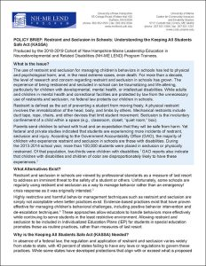 Policy Brief: Restraint and Seclusion in Schools: Understanding the Keeping All Students Safe Act.