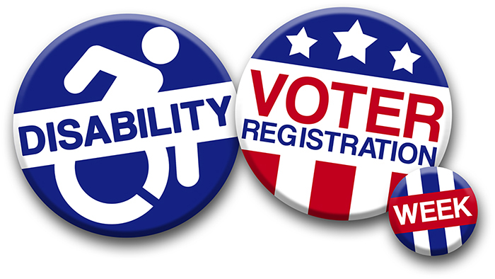 three round compaign buttons in red, white and blue, with Disability Voter Registration Week.