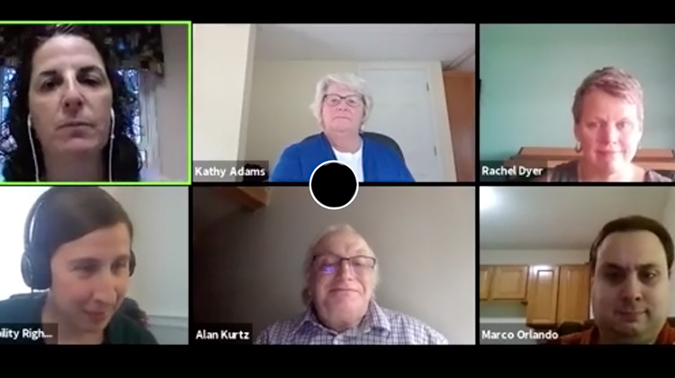 Screenshot of six people, four women and two men; who are panelists in an online training.