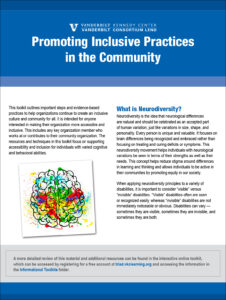 Cover of Promoting Inclusive Practices in the Community document.