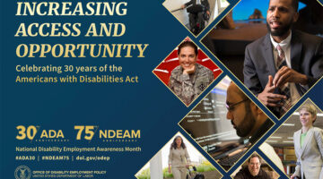 Poster for 2020 National disability Employment Awareness Month featuring individuals with disabilities in a variety of work settings.
