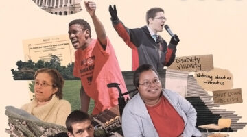 A collage of five people with disabilities advocating for their rights.