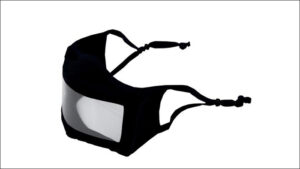Cloth face mask with clear panel to provide visual access for the Deaf and hard-of-hearing.