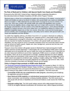 2020-2021 NH-ME LEND Policy Brief-The Role of Medicaid for Children with Special Health Care Needs and Disabilities.