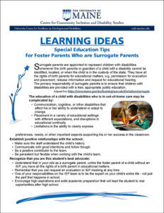 Special EducationTips for Foster Parents Who are Surrogate Parents tipsheet cover.