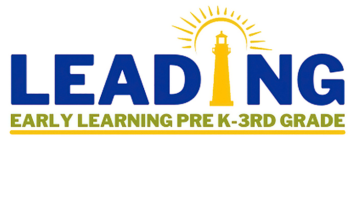 Yellow lighthouse projecting yellow rays oflight against a white background. the words, Leading Early Learning Pre K-3rd Grade, appear in dark blue and light green letters.