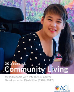 Cover of the ACL 30 Years of Community Living publication.